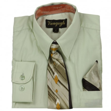 Vangogh Formal Long Sleeve Shirt With Tie And Handkerchief At Houston Kids Fashion Clothing