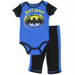 DC Comics Batman Blue Bat Signal Onesie And Pants Set Free Shipping Houston Kids Fashion Clothing