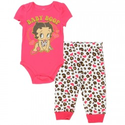Betty Boop Coral Onesie With Baby Boop And White Pants With Coral Hearts