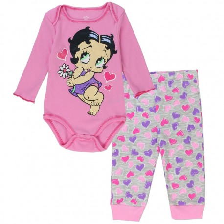 Betty Boop Pink Long Sleeve Onesie With Baby Boop And Grey Pants With Pink And Purple Hearts