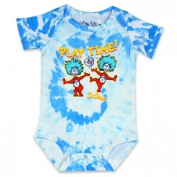Dr Seuss Playtime With Thing One And Thing Two On A Blue and White Onesie