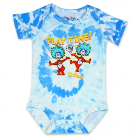 Dr Seuss Playtime With Thing One And Thing Two On A Blue and White Onesie Houston Kids Fashion Clothing Store