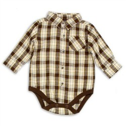 Faded Glory Brown Button Down Plaid Onesie
