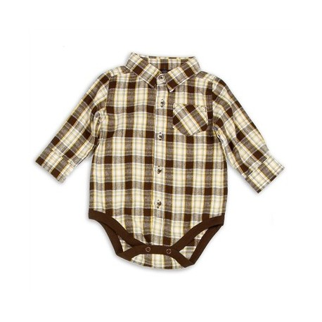 Faded Glory Button Down Brown Long Sleeve Plaid Onesie At Houston Kids Fashion Clothing Store