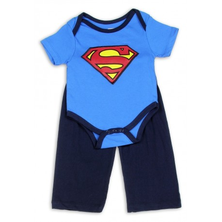 DC Comics Superman Light Blue Onesie And Navy Blue Pants Set Kids Fashion Clothing Store