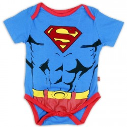 DC Comics Superman Blue Flocked Logo Infant Onesie Houston Kids Fashion Clothing Store
