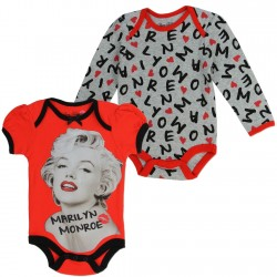 Marilyn Monroe Red and Grey Infant 2 Piece Onesie Set