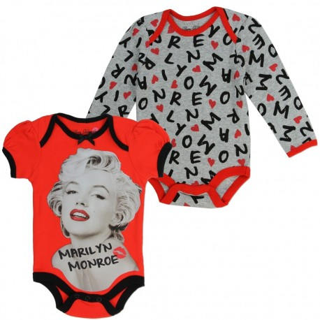 Marilyn Monroe Red and Grey Infant 2 Piece Onesie Set At Kids Fashion Clothing Store