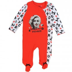 Marilyn Monroe Red and White Snap Down Girls Footed Sleeper
