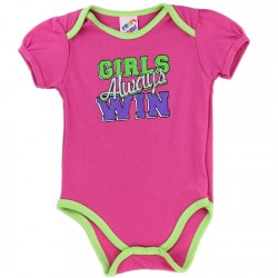 Coney Island Girls Always Win Pink Girls Baby Onesie Houston Kids Fashion Clothing Store
