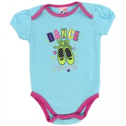 Coney Island Dance Everyday Light Blue Onesie With Pink Trim