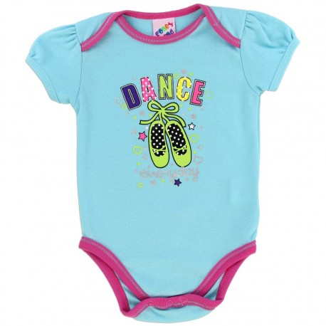 Coney Island Dance Everyday Light Blue Onesie With Pink Trim Houston Kids Fashion Clothing Store