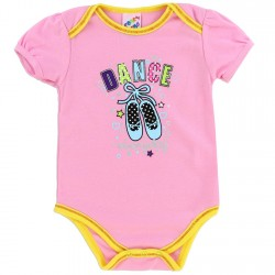 Coney Island Dance Everyday Pink Onesie With Yellow Trim