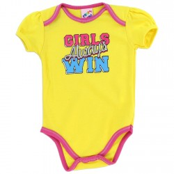 Coney Island Girls Always Win Yellow Girls Baby Onesie With Pink Trim Kids Fashion Clothing