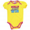 Coney Island Girls Always Win Yellow Girls Baby Onesie With Pink Trim Kids Fashion Clothing