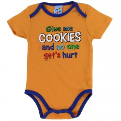 Coney Island Give Me Cookies And No One Gets Hurt Orange Boys Baby Onesie Houston Kids Fashion Clothing Store