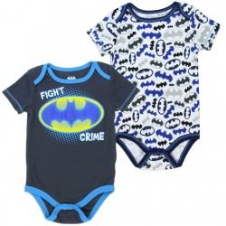 DC Comics Batman Fight Crime Charcoal Onesie With White Onesie Covered In Bat Signals Kids Fashion
