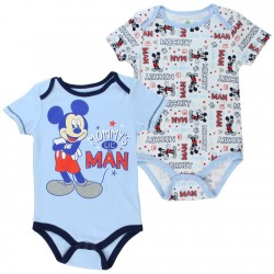 Disney Mickey Mouse Mommy's Little Man LIght Blue And White 2 Piece Set