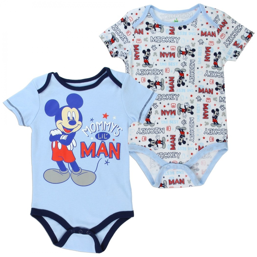 e1a9c2f881f8 Mickey Mouse Mommy s Lil Man 2 Piece Baby Boys Onesie Set
