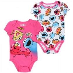 Sesame Street Pink And White 2 Piece Baby Onesie Set Featuring Elmo Cookie Monster And Zoe