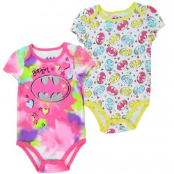 DC Comics Bargirl Purple Pink And Yellow Pastel Bat Signal Baby Onesie 2 Piece Set