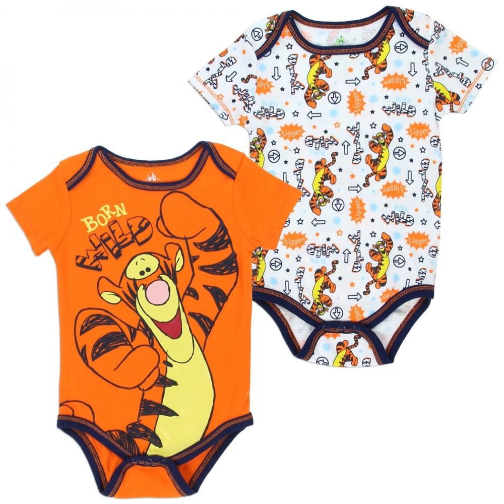 8ba4f9ef9 Winnie The Pooh Tigger Born Wild Orange And White 2 Piece Baby Boys Onesie  Set Houston. Loading zoom