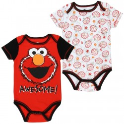 Sesame Street Elmo Red Awesome Baby Onesie With White Printed Elmo Baby Onesie