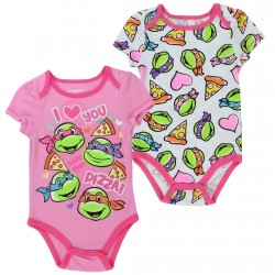 Nick Jr Teenage Mutant Ninja Turtles I Love You More Than Pizza Pink 2 Piece Onesie Set
