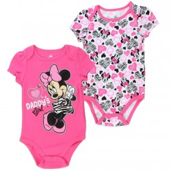 Disney Minnie Mouse Daddy's Girl Pink 2 Piece Baby Onesie Set