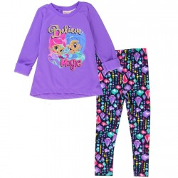 Nick Jr Shimmer and Shine Believe In Magic Toddler Purple Fleece Top With Printed Jeweled Leggings