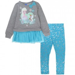 Disney Frozen Elsa And Olaf Grey Fleece Top With Blue Snowflake Leggings