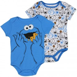 Sesame Street Cookie Monster Blue And White Onesie Set