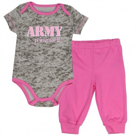 Us Army Princess Grey Camo Onesie With Pink Pants At Houston Kids Fashion Clothing Store
