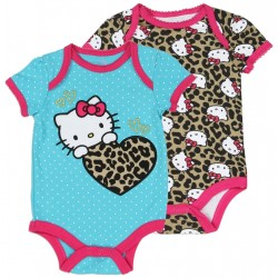 Hello Kitty Leopard Print Onesie And Blue Onesie With Leopard Print Heart