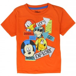 Disney Mickey Mouse And Friends Let's Go Explore Orange Short Sleeve Shirt