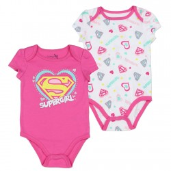 DC Comics Supergirl Pink Supergirl Onesie With White Onesie With all Over Print Houston Kids Fashion Clothing