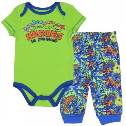 Nick Jr Teenage Mutant Ninja Turtles Heroes In Training Onesie and Pants With Colorful blue and Green Splashes of Color
