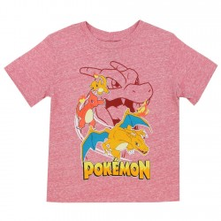 Pokemon Fire Dragons Red Heather Boys Short Sleeve Shirt