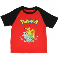 Pokemon Pikachu And Friends Red And Black Boys Short Sleeve Shirt