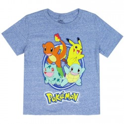 Pokemon Pikachu Blue Heather Boys Short Sleeve Shirt