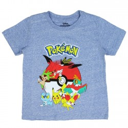 Pokemon Pokeball Pikachu Blue Heather Boys Short Sleeve Shirt