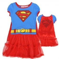 DC Comics Supergirl Blue Dress With Logo And Red Ruffles And Detachable Cape