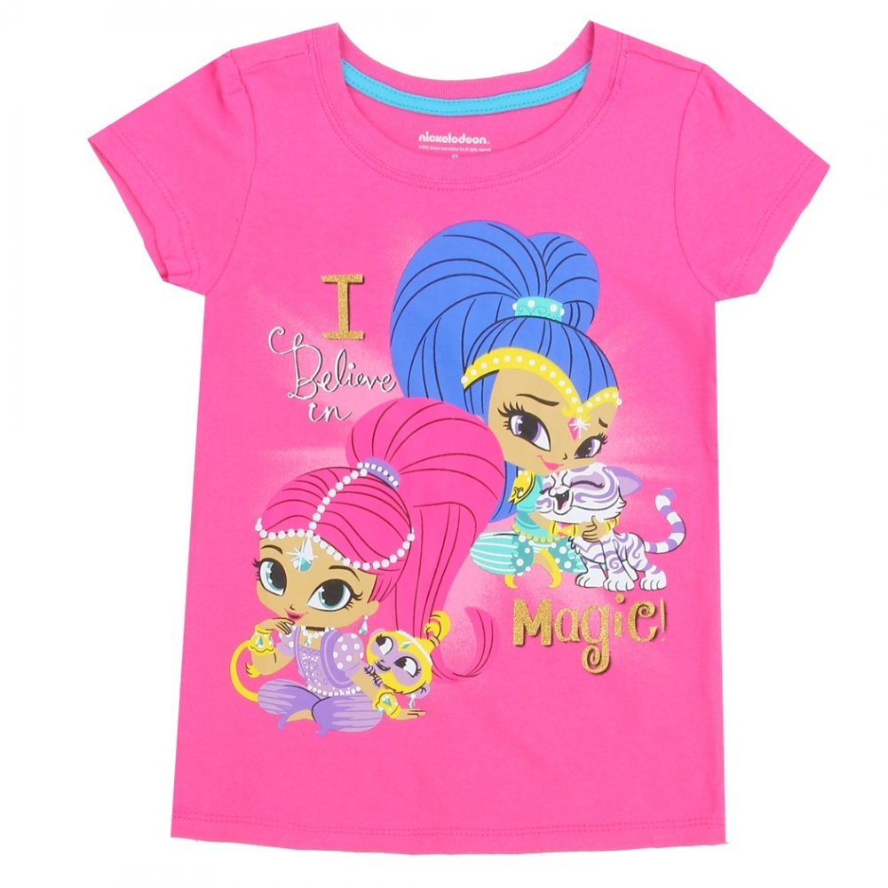 Nick jr shimmer and shine i believe in magic pink girls for Cheap t shirt printing houston