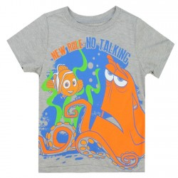 Disney Pixar Finding Dory New Rule No Talking Grey Toddler Boys Shirt