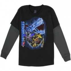 Transformers Bumblebee And Optimus Prime Black Long Sleeve Top