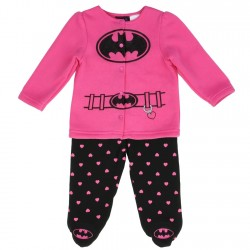 DC Comics Batgirl Pink Infant Fleece Jacket With Black Footed Pants