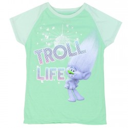 Dreamworks Trolls Mint Green Troll Life Girls Short Sleeve Shirt