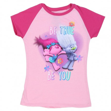 Dreamworks Trolls Be True Be You Pink Girls Short Sleeve Shirt At Houston Kids Fashion Clothing Store