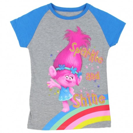 Dreamworks Trolls Sparkle And Shine Grey Girls Short Sleeve Shirt At Houston Kids Fashion Clothing Store