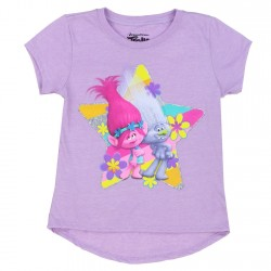 Dreamworks Trolls Character Lavender Short Sleeve Girls Shirt